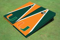 University Of Miami Alternating Triangle Custom Cornhole Board