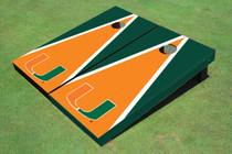 University Of Miami Orange And Green Matching Triangle Custom Cornhole Board