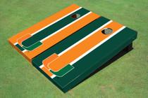University Of Miami Alternating Long Stripe Custom Cornhole Board