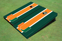 University Of Miami Orange And Green Matching Long Stripe Custom Cornhole Board