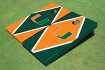 University Of Miami Alternating Diamond Custom Cornhole Board