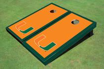 University Of Miami Orange Matching Border Custom Cornhole Board