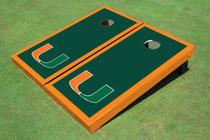 University Of Miami Green Matching Border Custom Cornhole Board