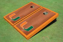 University Of Miami Orange Rosewood Matching Border Borders Cornhole Boards