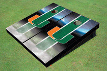 University Of Miami Field Long Strip Matching Green Custom Cornhole Board