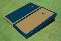 Dark Gold And Navy Alternating Border Custom Cornhole Board