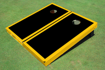 Black And Yellow Matching Border Custom Cornhole Board
