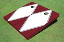 White And Maroon Matching Diamond Custom Cornhole Board