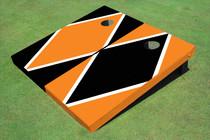 Black And Orange Alternating Diamond Custom Cornhole Board