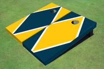 Yellow And Navy Alternating Diamond Custom Cornhole Board