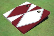 White And Maroon Alternating Diamond Custom Cornhole Board