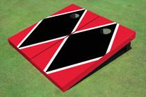 Black And Red Matching Diamond Custom Cornhole Board