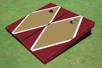 Dark Gold And Maroon Matching Diamond Custom Cornhole Board