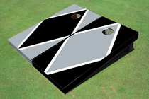 Black And Gray Alternating Diamond Custom Cornhole Board
