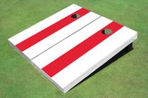 Crimson And White Long Stripe No Stripe Cornhole Boards