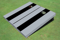 Black And Gray Long Stripe No Stripe Custom Cornhole Board