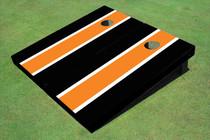 Orange And Black Matching Long Stripe Custom Cornhole Board