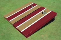 Dark Gold And Maroon Alternating Long Stripe Custom Cornhole Board