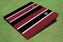 Maroon And Black Alternating Long Stripe Set