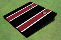 Maroon And Black Matching Long Stripe Set