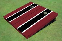 Black And Maroon Matching Long Stripe Set