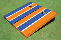 Blue And Orange Alternating Long Stripe Cornhole Set