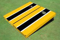 Black And Yellow Matching Long Stripe Set