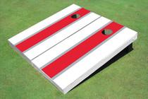 Crimson And White Matching Long Stripe Set