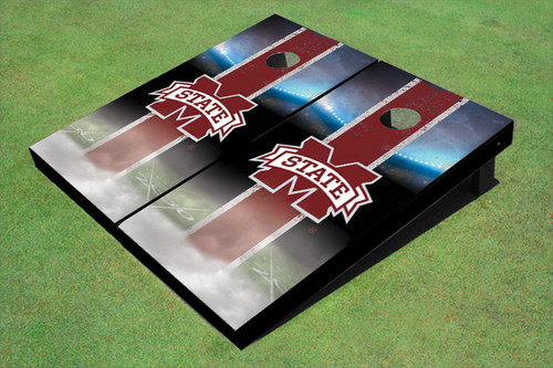 "Mississippi State University ""M"" Field Long Strip Matching Maroon Themed Cornhole Boards"