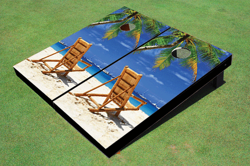 USED - Beach Chair Facing Right Custom Cornhole Board