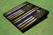 Custom Black And White American Flag With Blue Stripe Themed Cornhole Board set
