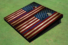 "Custom American Flag With Stars On Left And ""Thin Blue Line"" Themed Cornhole Board set"