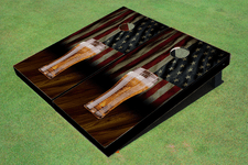 Custom American Flag With Pilsner Themed Cornhole Board set