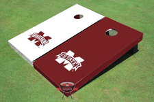 Mississippi State University Alternating Solid Cornhole Boards