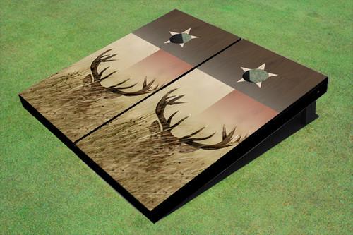 Custom Texas Flag With Deer Themed Cornhole Boards