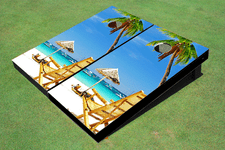 Beach Chair Near Umbrella Themed Cornhole Boards