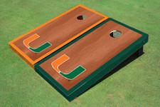 University Of Miami Rosewood Alternating Border Cornhole Boards