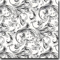 "Felicity Pattern Metallic 8 1/2"" x 11"" cover weight Black on Curious Metallics Ice Silver"