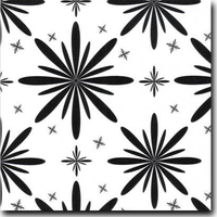"Starlet Pattern Metallic 8 1/2"" x 11"" cover weight Black on Curious Metallics Ice Silver"