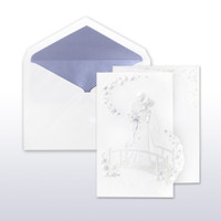 Periwinkle And Pearl Printed/Stamped Bride And Groom On Bridge Fan Fold - 50 Pack Kit (Invitations, Inner Envelopes, Outer Envelopes)