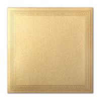 "50 Pack Stardream Metallic Gold 105 Lb. Cover Square Imperial Embossed Border Card 7 1/4"" X 7 1/4"""