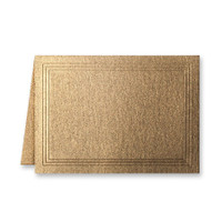 "50 Pack Stardream Metallic Antique Gold 105 Lb. Cover Triple Panel Border Folded Enclosure Card 2 15/32"" X 3 7/16"" Closed"
