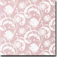 "Chantry Pattern Metallic 8 1/2"" x 11"" cover weight Pink on Curious Metallics Ice Silver"