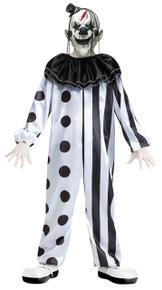 Killer Clown Black & White Kids Costume with Mask