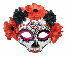/day-of-the-dead-mask-black-red-flower-mardi-gras/