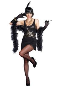 20's Ain't Misbehavin' Black & Gold Flapper Dress