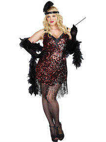 "20's ""Dames Like Us"" Plus Size Red & Black Sequin Flapper Dress"