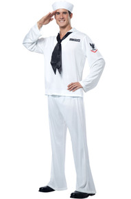 Sailor Men's Costume White Top, Pants, Hat, Neck Tie