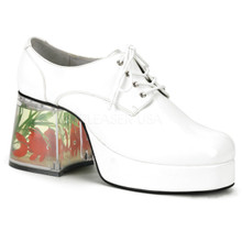 """3 1/2"""" Heel Pimp Shoe with Floating Fish White"""