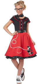 50's Sweetheart Girl's Red Poodle Skirt Costume